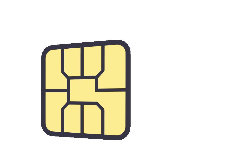 Digital SIM Icon mit weißen Linien